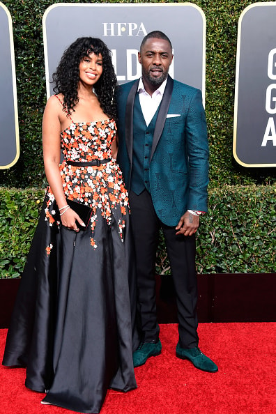 BEVERLY HILLS, CA - JANUARY 06:  Sabrina Dhowr (L) and Idris Elba attend the 76th Annual Golden Globe Awards at The Beverly Hilton Hotel on January 6, 2019 in Beverly Hills, California.  (Photo by Frazer Harrison/Getty Images)